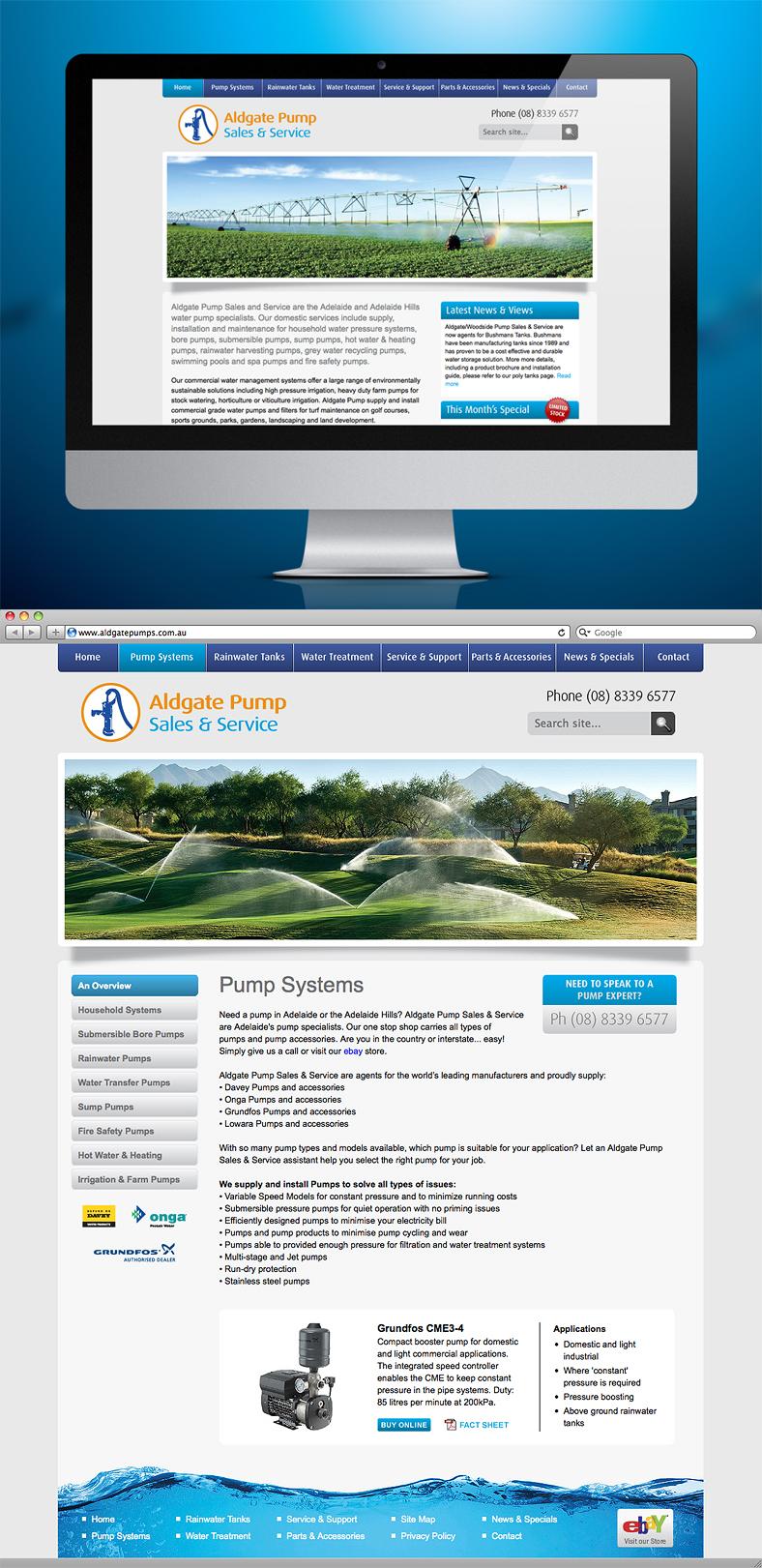 NrG Advertising Website Development for Aldgate Pump Sales & Service