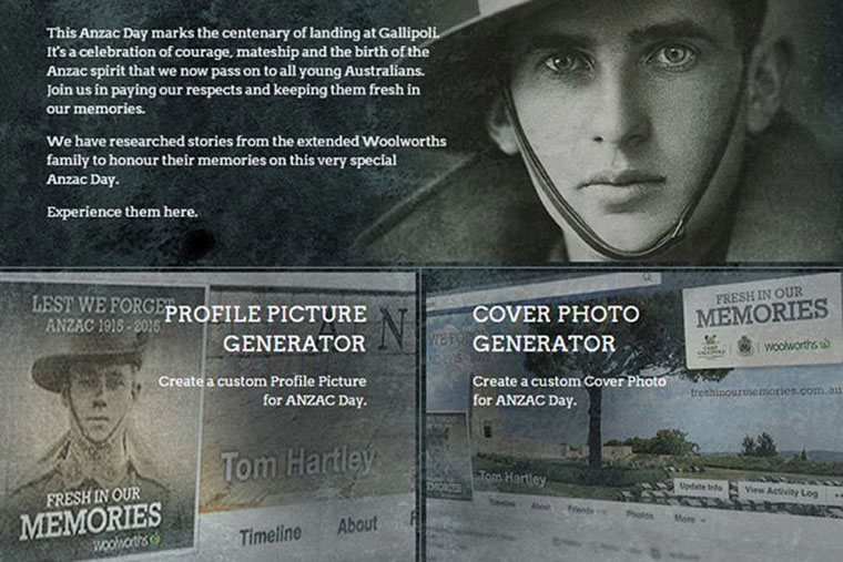 Woolworths Anzac Day Campaign Fresh in our memories website